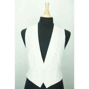 Ralph Lauren White Textured Shawl Collar Cotton Fo
